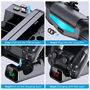 Cooling Fan Compatible with Regular PS4/ PS4 Pro/ PS4 Slim,OIVO Controller Charging Dock Station with Cooler Vertical Stand, Dual Controller Charger with LED Indicators and 10 Games Storage