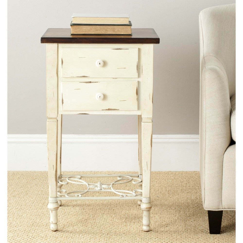 Safavieh American Home Collection Dorset Antique White and Dark Brown Two Drawer End Table 0