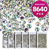 Teenitor 8640 Pcs- Wholesale Nail Crystal AB Rhinestone Decoration Timeless Lasting SS4 5 6 8 10 12 Round Iridescent Glass Flatback Glitter Bling Diamond Charms Gem Stone For 3D Nail Art Jewelry DIY (Color: crystal ab)