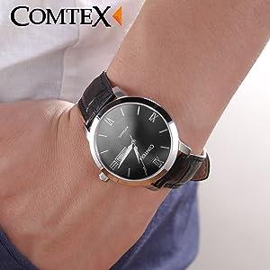 Comtex 腕時計 日付・曜日表示 機械式時計 自動巻き/手巻き ブラック メカニカル アナログ ウオッチ メンズ