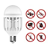 GEEKERS Bug Zapper Light Bulb with LED Light Bulb,Fly Killer, Mosquito Killer, Built in Insect Light Trap, Fits in 110v Light Bulb Socket, Perfect for Indoor Home Garden Patio Backyard (Color: white)