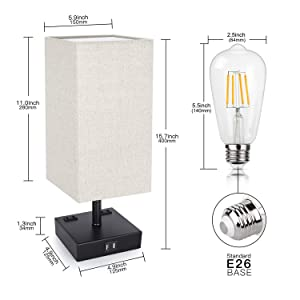 3-Way Touch Control Dimmable Table Lamp with 2 USB Charging Ports, 2 AC Outlets, Modern Bedside Lamp Nightstand Lamp for Bedroom Living Room Office, 60W Equivalent Vintage LED Bulb Included (Color: Touch Lamp, Tamaño: Touch Control Lamp)