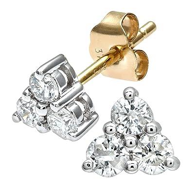 Naava Women's 9 ct Yellow Gold 0.33 ct Diamond Triangular Stud Earrings