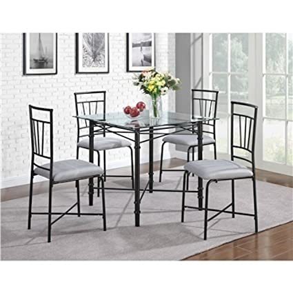 Deluxe 5 Piece Dining Set Kitchen Living Room Furniture, Glass/Metal