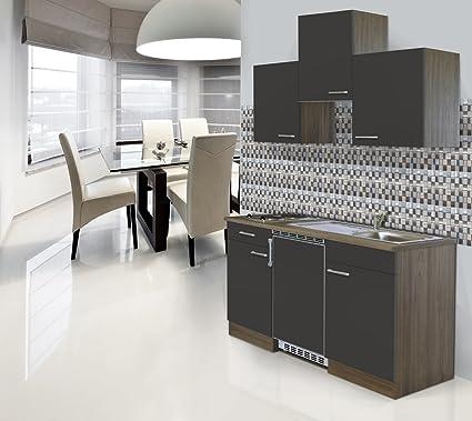 La instalación de la cocina respekta bloque de cocina de 150 cm de colour gris de vitrocerámica de imitación de madera de roble de York