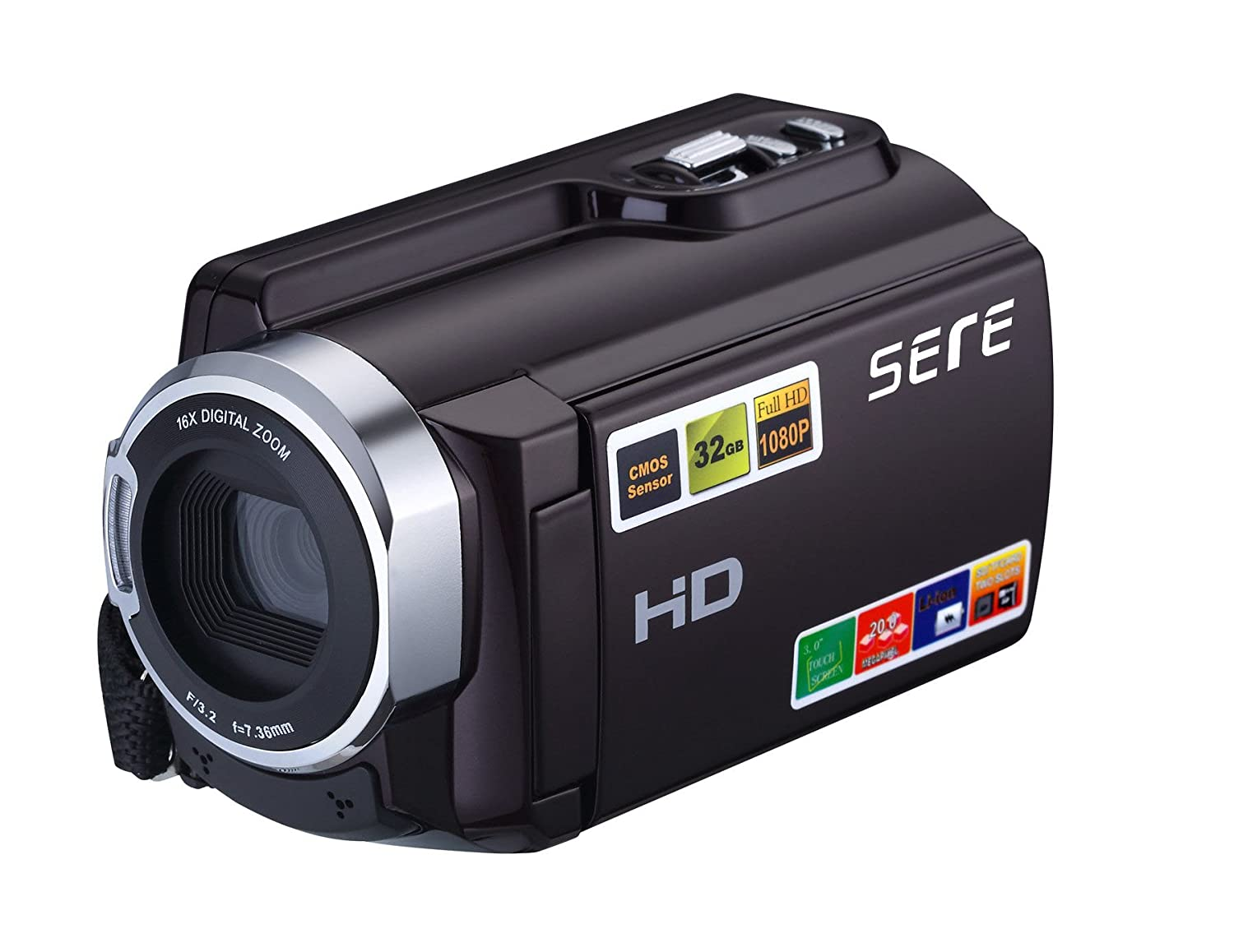 Sereer HDV-501 FHD 1080P Camcorders WIFI Connection 60FPS Dual SD Slot Night Vision External Battery 20MP 16X Digital Zoom 3 Inch Touch Screen Camera