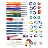 ELINKA Crochet Hooks 16 Sizes with Comfort Ergonomic Grips Knit Knitting Needls Sewing Tools with Organizer Case Gauge Scissors Stitch (Color: 16size+tools)