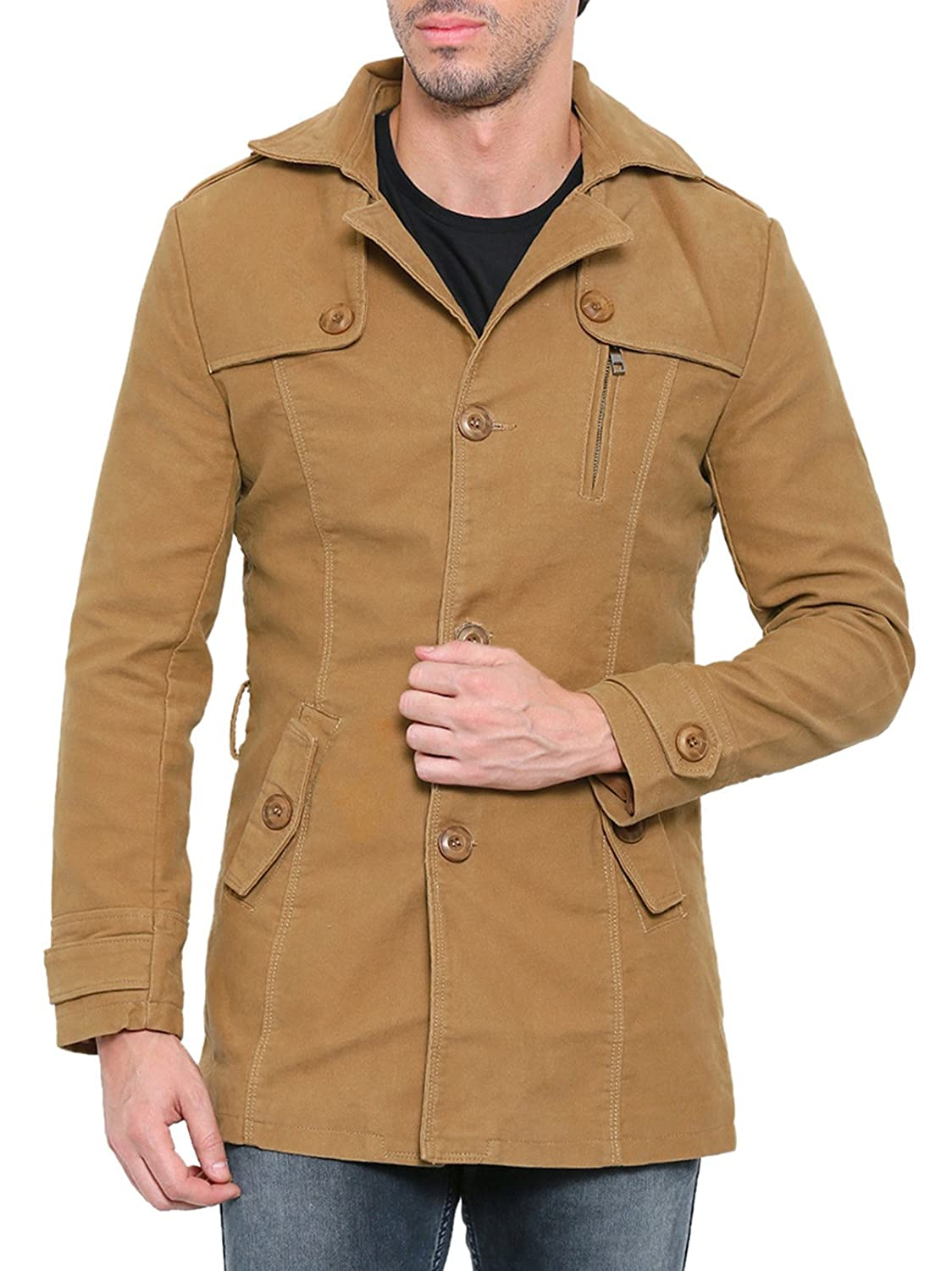 Showoff Men's Full Sleeves Solid Beige Casual Jacket