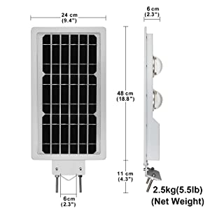Solar Street Lights Outdoor Pole Post Wall Mounted Lamp 50LEDs Max.1100LM 3000K(Warm Yellow) Dusk to Dawn Sensor + Timing Security Area Night Lighting (Color: Silver)