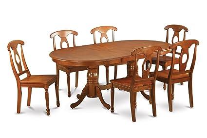 East West Furniture PLNA7-SBR-W 7-Piece Dining Room Table Set