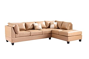 Glory Furniture G641-SC Sectional Sofa, Tan, 2 boxes