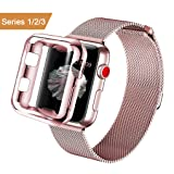 AdMaster Apple Watch Band 38mm Stainless Steel Metal Replacement Wristband Milanese Sport Strap and Apple Watch Screen Protector for Apple Watch Series 3 2 1, Rose Gold (Color: Rose Gold, Tamaño: 38mm)