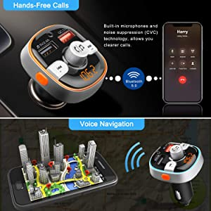 ZEEPORTE Bluetooth FM Transmitter for Car, QC3.0 Wireless Radio Bluetooth Adapter Music Player Charger Car Kit with Hands Free, 7-Colors LED Backlit,