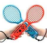 2 Pack Tennis Racket for Nintendo Switch Joy-con Controllers, Nintendo Switch Accessories For Mario Tennis Aces Game, Grips for Switch Joy-con (Blue and Red)