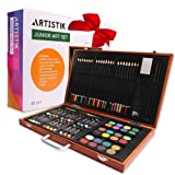Wooden Art Set - (80 Piece) Deluxe Art Creativity Set and Professional Art Set Box for Coloring Beginners, Great Gift for Artists, Adults Teens, and Children