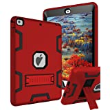 TIANLI Case for iPad Air Three Layer Plastic and Silicone Protection Heavy Duty Shockproof Protective Cover for iPad Air 9.7 inch - Red Black (Color: Red-Black)