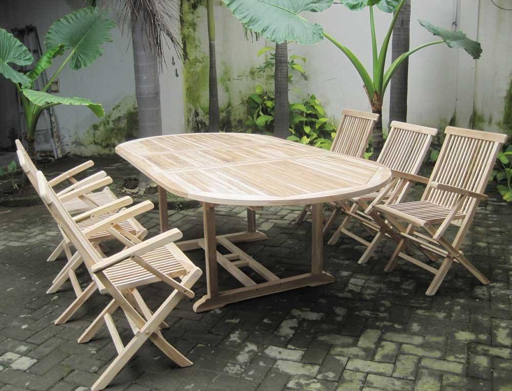 SAM® Teak Holz Gartengruppe Gartenmöbel Mensol II 7 tlg., 6 x Klappstühle + 1 x Auszugstisch, zusammenklappbare Stühle, leicht zu verstauen online kaufen