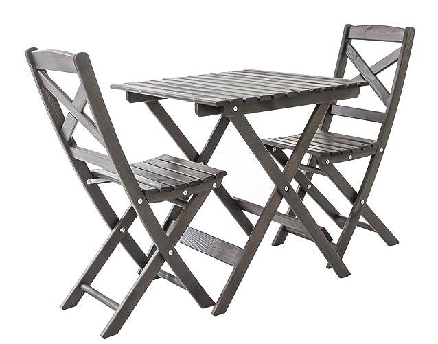Ambiente Casa Balkonset mobili pieghevole Bistro Imposta Lotta, taupe grigio, 3 pezzi set