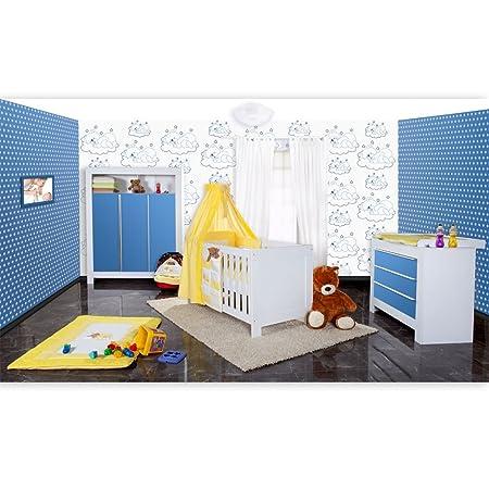 Babyzimmer Felix in weis/blau 21 tlg. mit 3 turigem Kl + Sleeping Bear in gelb