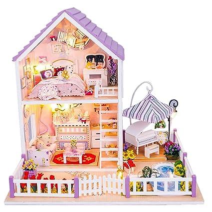 WINOMO Maisons de Poupées Miniature Bricolage Kit Enfants Jouet - Romantique Violet Maisons