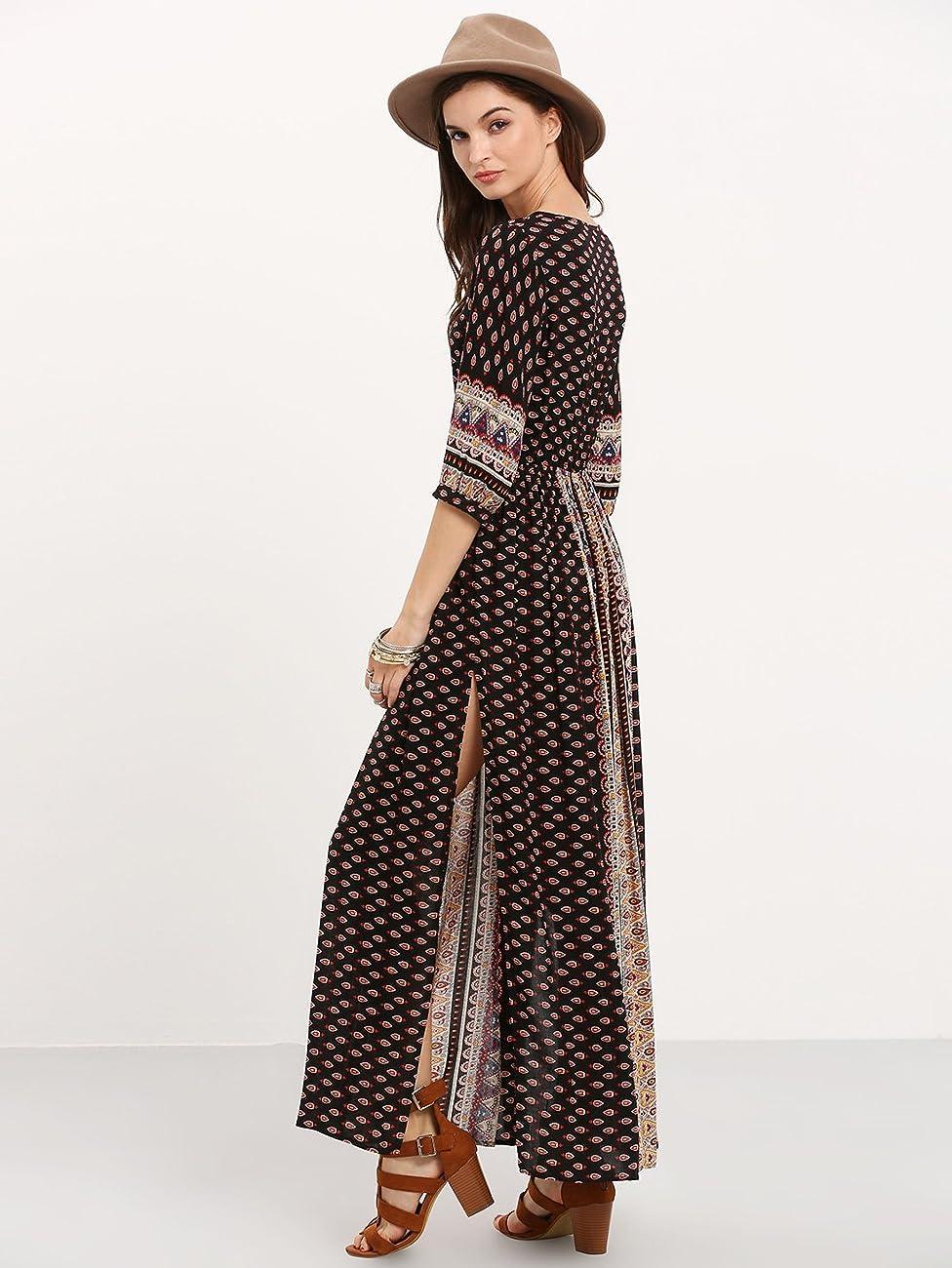 ROMWE Women's Summer Casual Half Sleeve Vintage Print Split Maxi Dress 3