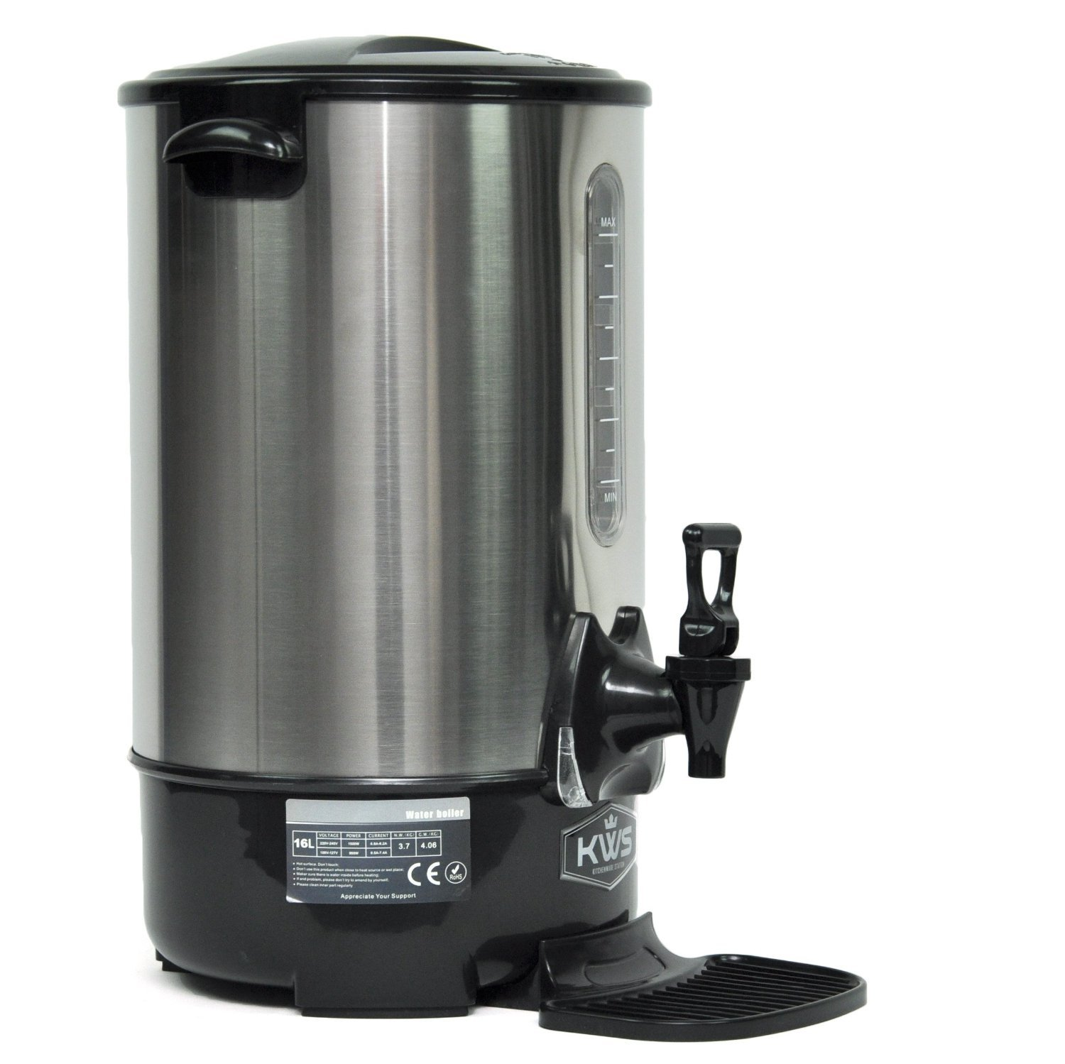 Double Stainless Steel Layer Commercial Electric Hot Water and Warmer Dispenser Kettle Boiler KWS-WB-16L (Silver / 4.3 Gallon / 67 Cups)