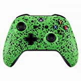 eXtremeRate Textured Green Faceplate Cover, 3D Splashing Front Housing Shell Case, Comfortable Non-Slip Replacement Kit for Xbox One S & Xbox One X Controller (Color: Textured Green)