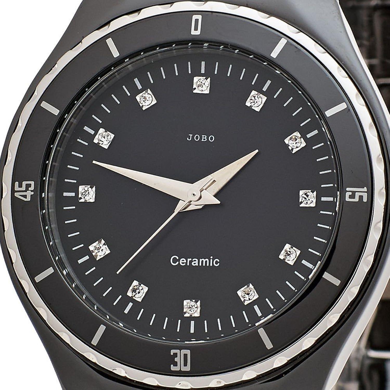 Damen-Armbanduhr Quarz Analog Edelstahl Keramik Kristall-Elements bestellen