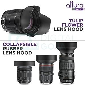 58MM Lens Hood Set (Tulip Flower + Collapsible Rubber Lens Hood) (Tamaño: 58MM)