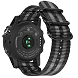 Fintie Band for Garmin Fenix 5X Plus/Fenix 3 HR Watch, 26mm Premium Woven Nylon Bands Adjustable Replacement Strap for Fenix 5X/5X Plus/3/3 HR Smartwatch - Black/Gray (Color: Z-Black/Gray)