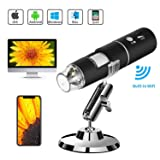 WiFi USB Microscope, TSAAGAN Built in WiFi Wireless Digital Microscope Camera with 1080P HD 2MP 50x to 1000x Magnification Endoscope for Android, iOS, Smartphone, Tablet, Widows, iPad, Mac PC (Color: #01,Black)