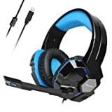 USB Gaming Headset, TeckNet Wired 7.1 Channel Surround Sound USB PC Computer Gaming Headset Over Ear Headphones with Microphone, Volume Control and LED Light (Color: Blue)