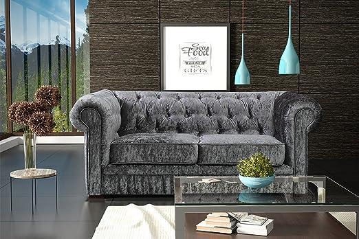 LoveSofas Brand New Silver Grey Modern Crushed Velvet Fabric Chesterfield 2 Seater Sofa