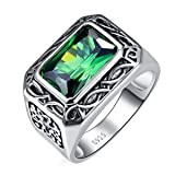 BONLAVIE 6.85ct 8X12mm Radiant Cut Created Green Emerald 925 Sterling Silver Ring Men's Wedding Band 12