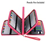 BTSKY 200 Slots Colored Pencil Organizer - Deluxe PU Leather Pencil Case Holder with Removal Handle Strap Pencil Box Large for Colored Pencils Watercolor Pencils(200 Slots Pink) (Color: 200 Slots Pink)