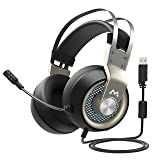 Mpow 2019 Edition PC Gaming Headset with Microphone, 7.1 Surround Sound Gaming Headphones, USB PS4 Headset with 50mm Driver, Mute Mic & Volume Control, Over-Ear Headphone, Compatible with PC, PS4 (Color: Silver)