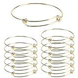 Wholesale 12 PCS Wire Blank Bangle Bracelet Adjustable Expandable Stainless Steel Bracelet Bulk for Jewelry Making (Color: C-12pcs Gold)