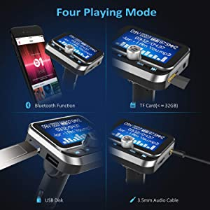 """(Upgraded Version) Bluetooth FM Transmitter, ToHayie Wireless Radio Adapter Stereo Music Player 1.8"""" LCD Display with Dual USB Charging Ports, Supports Hands-Free Calling, AUX, TF Card and U-Disk (Color: Silver)"""