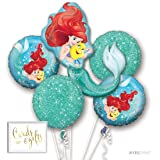 Andaz Press Balloon Bouquet Party Kit with Gold Cards & Gifts Sign, Disney Little Mermaid Birthday Foil Mylar Balloon Decorations, 1-Set (Color: Little Mermaid)