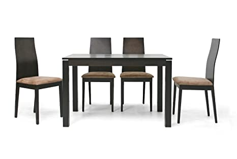 Baxton Studio Calhoun 5-Piece Modern Dining Set, Dark Brown