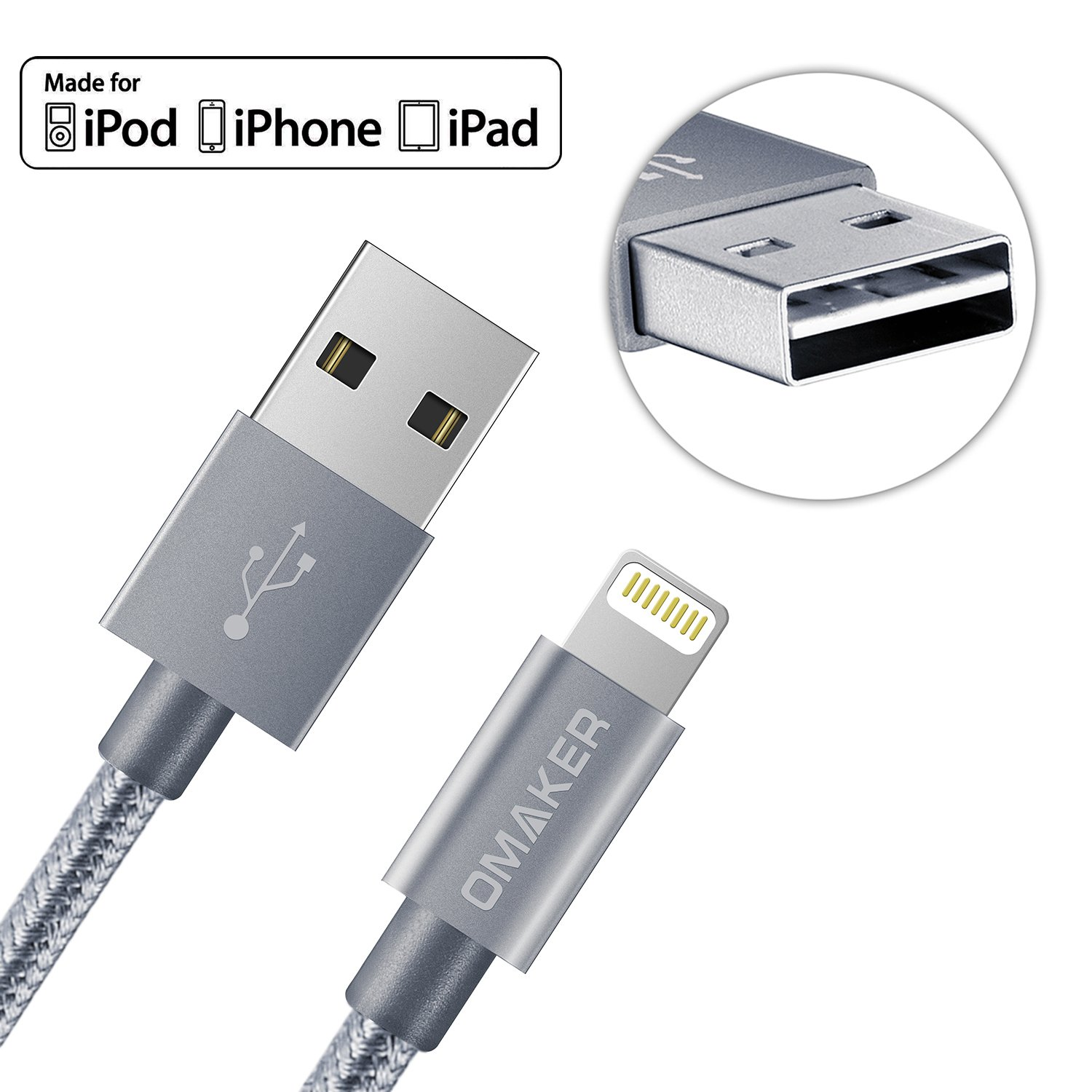 (Reversible USB Port)Omaker Apple Certified Nylon Braided Lightning to USB Cable with Aluminum Alloy Connector 3.3ft Sync Cable Charger Cord