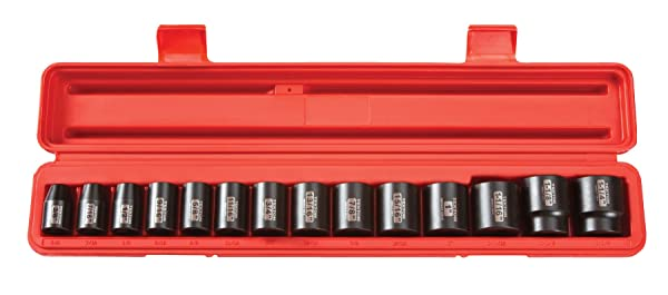 TEKTON 1/2-Inch Drive Shallow Impact Socket Set, Inch, Cr-V, 12-Point, 3/8-Inch - 1-1/4-Inch, 14-Sockets | 48161