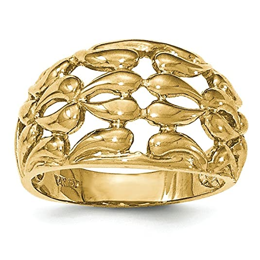 14ct Gold Polished Teardrop Basketweave Ring