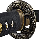 Handmade Sword - Samurai Katana Sword, Practical, Hand Forged, 1045 Carbon Steel, Heat Tempered, Full Tang, Sharp, Dragon Tsuba, Black Wooden Scabbard Painted Colorful Dragon (Color: Dragon)