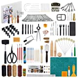 Caydo 200 Pieces Hand Leathercraft Working Tool Kit with Adjustable Swivel Knife, Prong Punch, Hole Hollow Punch, Matting Cut for DIY Leather Artworks
