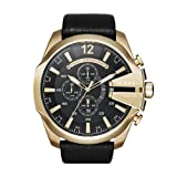 Diesel Men's Mega Chief Quartz Stainless Steel and Leather Chronograph Watch, Color: Gold-Tone, Black (Model: DZ4344) (Color: Black 3, Tamaño: one size)