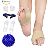 Bunion Corrector and Bunion Care Kit for Tailors Bunion, Hallux Valgus, Big Toe Joint, Hammer Toe, Toe Separators Spacers Straighteners Splint with Foot Massage Ball (Color: Bunion Corrector)