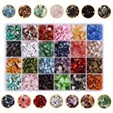 Dushi Natural Irregular Chips Stone Beads for Jewelry Making 7-8mm Gemstone Stone Crushed Chunked Beads 24 Multicolor Crystal Pieces Loose Beads Repair Kit(Plastic Box is Included) (Color: 24 Grid Irregular Chips Beads)