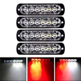 XT AUTO 6LED Car Truck Emergency Beacon Warning Hazard Flash Strobe Light Red/White 4-pack (Color: Red White)