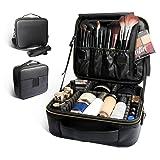 Bvser Travel Makeup Case, PU Leather Portable Organizer Makeup Train Case Makeup Bag Cosmetic Case with Shoulder Strap and Adjustable Dividers for Cosmetics Makeup Brushes Women - Black (Color: Black)